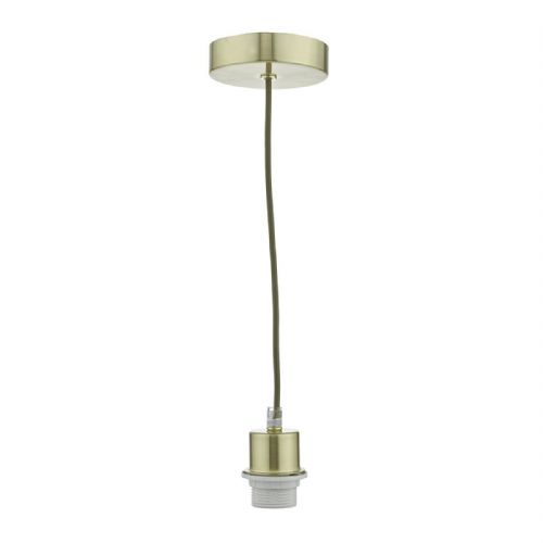 1 Light Satin Brass E27 Suspension Clear Cable